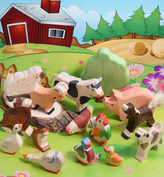 Animal Toys For Boys : Sale off wooden farm animal set birthday toys