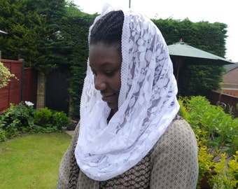White Infinity Lace Mantilla Veil Headcovering