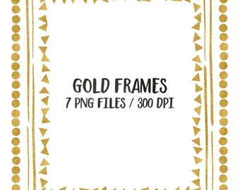 buy 3 for 8 usd gold digital frames clip art glitter frames cliparts triangles circles squares gold hand painted 8x10 download