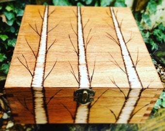 Large wooden box tree design, gifts for him, gifts for men,mans box, keepsake box, woodland gift, storage box, mens accessories