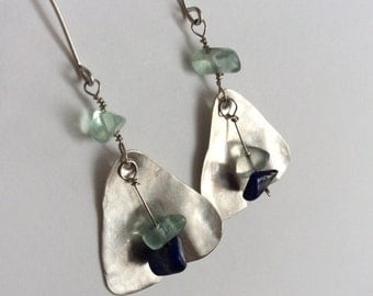 Sterling silver drop earrings. Long dangle earrings. Chandelier earrings