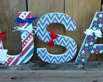 USA Letters, Chunky USA Letters, July 4th Decor Shelf Sitter, USA Wood Letters, 4th of July Wood Decor, 4th of July Decorations