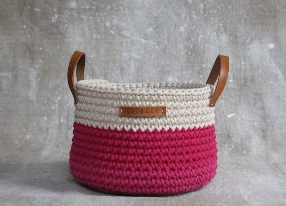 Handmade Cotton Baskets : Items similar to handmade crochet cotton basket in cream