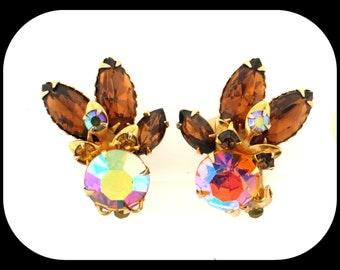 Vintage Designer BEAUJEWELS Beau Jewels AB Aurora Borealis & Smoky Rhinestone Gold Plated Clip On EARRINGS