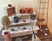 Miniature Dollhouse Potting Shed Tools, Miniature Potting Bench Tools, Gardening Tools, Miniature Gardening,