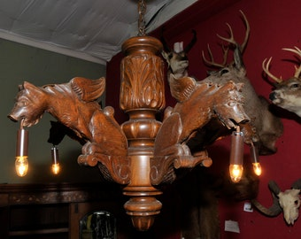 Antique French Chandelier with Five Large Carved Griffins #6122