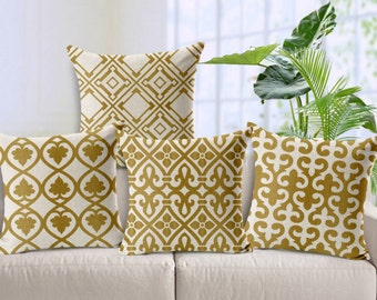 Dark gold stripe geometry cushion cover, throw pillow cover
