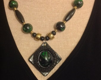 OOAK, Necklace, Stunning shades of Emerald Green and Jet Black!