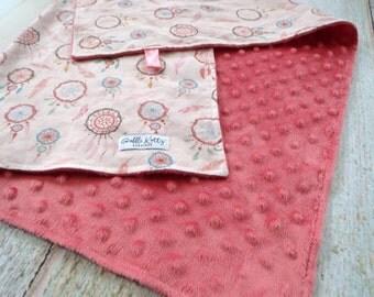 Baby Blanket - Baby Girl Blanket - Bohemian Blanket - Dream Catcher Baby Blanket - Turquoise Minky Blanket - Pink Minky Blanket