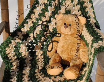 Hunter Green Crocheted Baby Snuggle Square