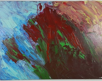 """Abstract acrylic painting titled """"Eruption"""" on 12"""" x 9"""" x 1/8"""" black canvas"""
