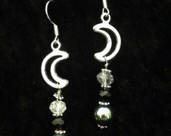 Green hematite moon earrings