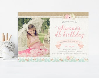 Shabby Chic Birthday Invitation, Shabby Chic Invitation, Girls Birthday Invitation,  Girls First Birthday Invitation, Printable Invitation