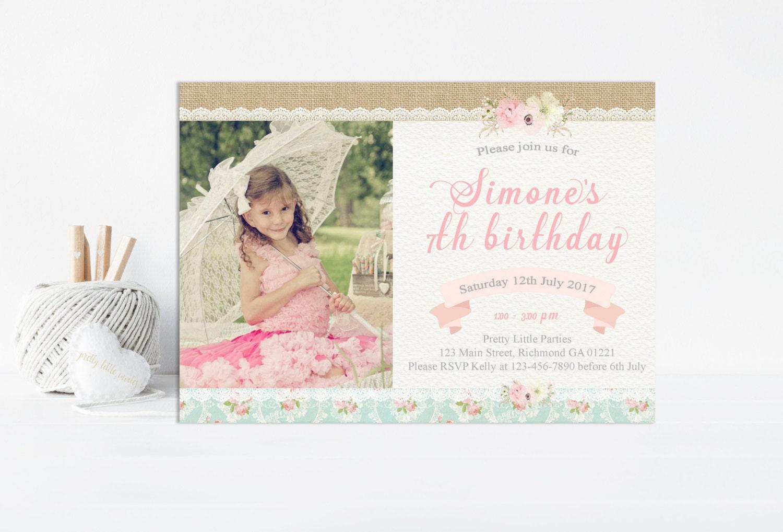 Shabby Chic Birthday Invitation Shabby Chic Invitation Girls