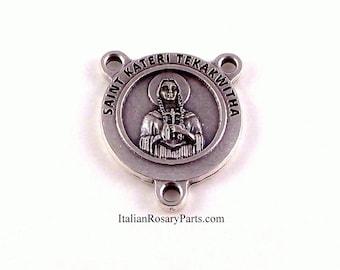 Saint Kateri Tekakwitha Lily of The Mohawks Rosary Center Medal   Italian Rosary Parts