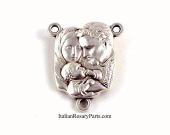 Holy Family Rosary Center Medal Jesus Mary and Joseph | Italian Rosary Parts
