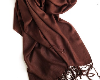 Brown long scarf, pashmina scarf, lightweight scarf, scarf with a matte sheen, plain brown scarf, gift for women