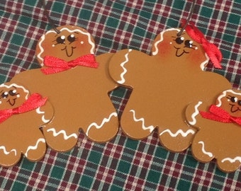 Gingerbread couple with two kids Handpainted personalized ornament!