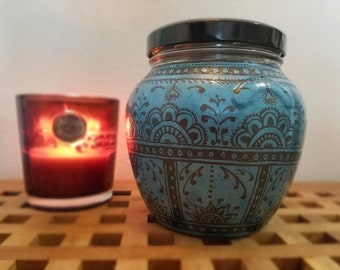 Bohemian Inspired Hand Painted Glass Cookie or Doggie treat jar