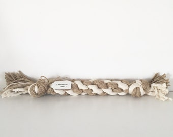 Cotton and jute plaited rope dog toy - With personalised tag