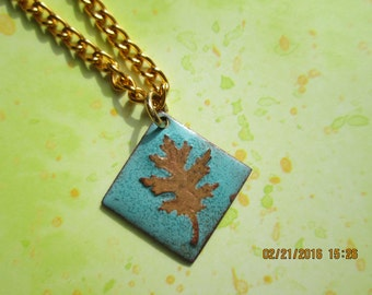 copper oak leaf copper enamel necklace