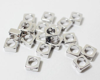 P0472/anti-Tarnished Rhodium Plating Over Brass/Square Charm Connector/6mm/4pcs