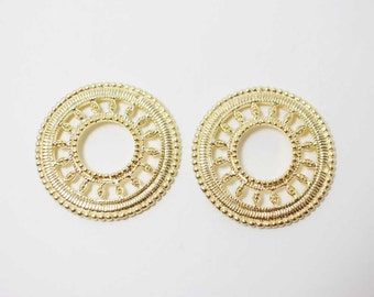 P0283Anti-Tarnished Matte Gold Plating Over Brass/Antique Wheel Pendant/27mm/2pcs