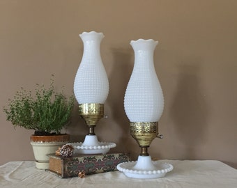 Vintage Milk Glass Lamp / Pair Vintage Lanterns / Hurricane Lamp / Hurricane Lamps / Oil Lamp / Gas Lamps / Vintage Gas Lamp