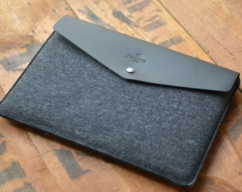 "Envelope 15"" MacBook Pro Retina Leather Sleeve Case and Wool Felt Laptop Cover Handmade"