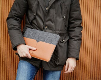 "15"" MacBook Pro Retina Leather Sleeve Case and Wool Felt Laptop Cover Handmade with pocket"
