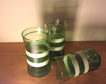 Green & White Stripped Libbey Juice Glasses -Set of 3 Glasses