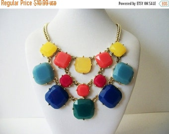 ON SALE Retro Gold Tone Metal Colorful Etched Plastic Beads Bib Necklace 61916
