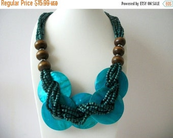 ON SALE Vintage Chunky Turquoise Dyed Shells Wooden Beads Necklace 8316