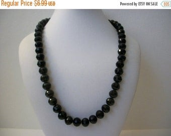 ON SALE Vintage Jet Black Shimmery Faceted Beads Necklace 896