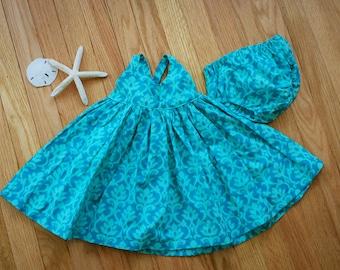 teal damask hummingbird dress