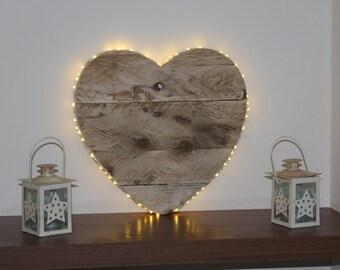 Wooden heart/Rustic wooden heart with LED fairy lights/ nursery night light/large heart/rustic heart/hanging heart/wall decor/night light