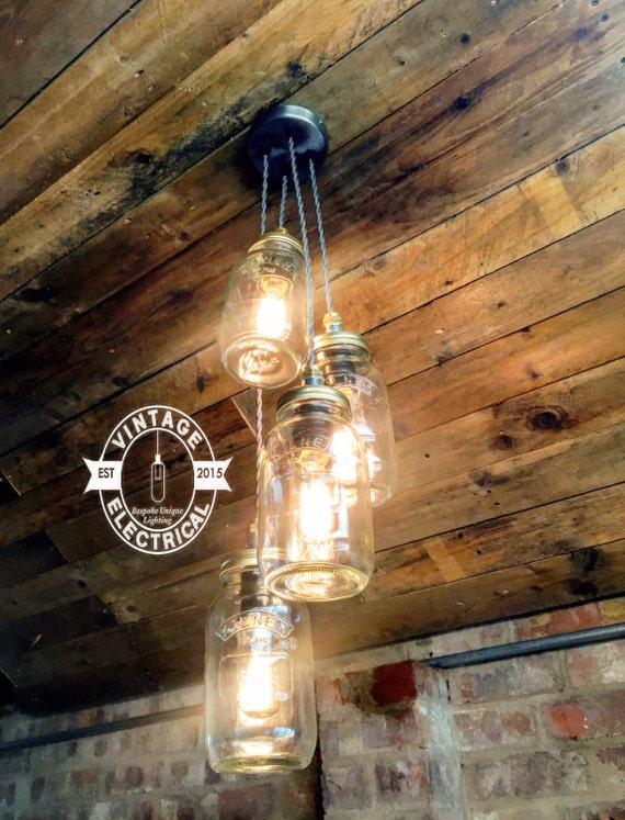 The kelling 4 x kilner hanging mason jar lights ceiling for Kelling designs