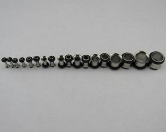 18 Piece 14G - 00G Stainless Steel Tunnel Ear Stretch Set