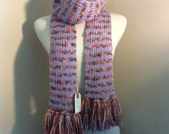 Hand-knit pastel stripes scarf