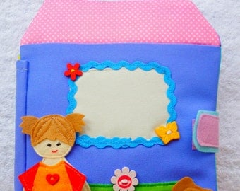 QUIET BOOK, eco-friendly quiet book, travel busy book, felt book, doll house book for children  24 m+ (8 pages )