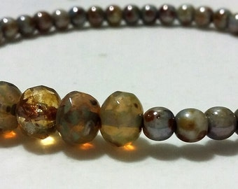 Champagne/Turquoise Czech bead bracelet 5x7mm/4mm