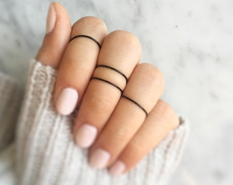 4 black midi rings,black friday gift,black stacking rings,minimalistic rings,black knuckle rings,noir stacking rings,simple,thin,monochrome