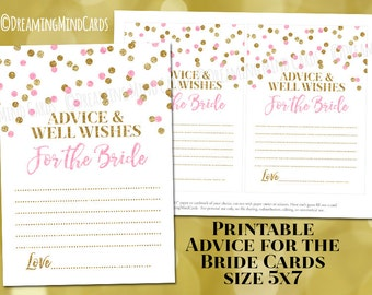 Printable Advice and Well Wishes for the Bride Cards Light Pink Gold Confetti Bridal Shower Instant Digital Download