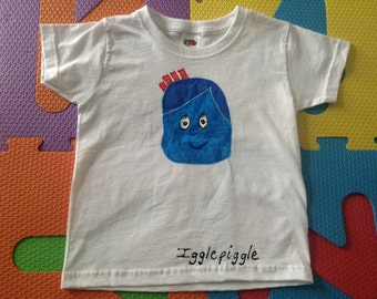 Toddler T-Shirt Hand painted 1-2 year 2-3 year 3-4 year In The Night Garden Iggle Piggle