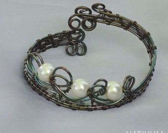Glass Pearls Copper Wire Wrapped Bracelet