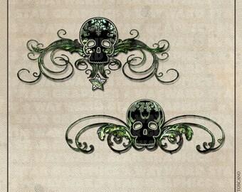 Skull Flourish Digital Clip Art Set
