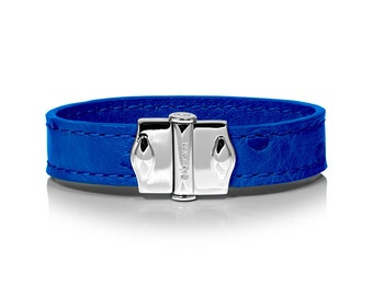 D'Monti Monaco Blue Mothers Day Gift Ideas - France Luxury Exotic Genuine Real Ostrich Leather Mens Womens Unisex Single Cuff Bracelet