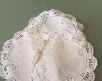 Hand made Belgian lace doilies