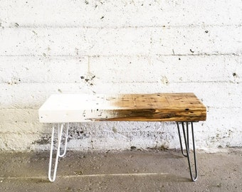 GROGG Ombre Bench | Reclaimed Wood Bench Steel Legs Bench White Ombre Wood Black Ombre Bench Hairpin Legs Bench