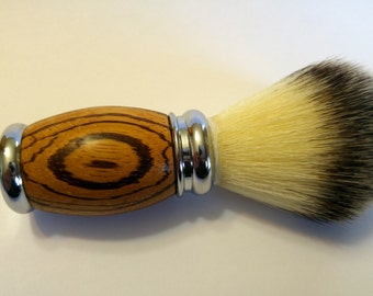 Zebrawood shave brush, shave brush, synthetic shave brush, shaving brush, mens shave brush, shave kit,